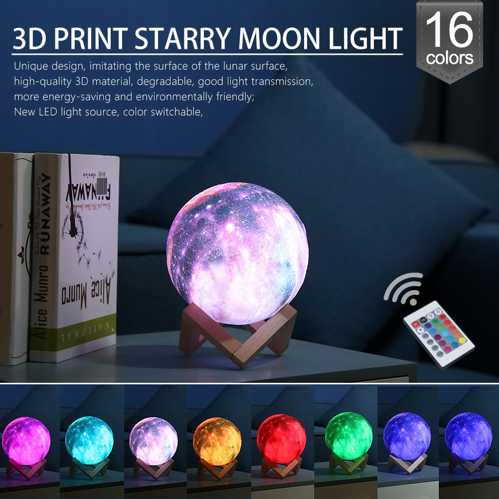 16 Colors 3D Print Star Moon Lamp Colorful Change Touch Control Bedroom USB LED Night Light Creative