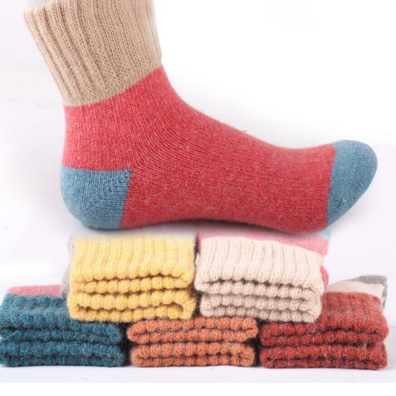 New Autumn And Winter Womens Socks Thickened Warmth Comfort Multicolor Stitching Simple Versatile Cotton Stockings