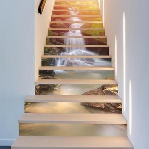 13Pcs Pvc 3D Waterfall River Stair Stickers Waterproof Stairway Stickers Self-Adhesive Stickers Bedroom Decor Room Decoration