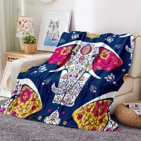 3d printed flannel blanket animals elephants bohemia warm quilt cover travel home bedding soft winter blanket for kids adults