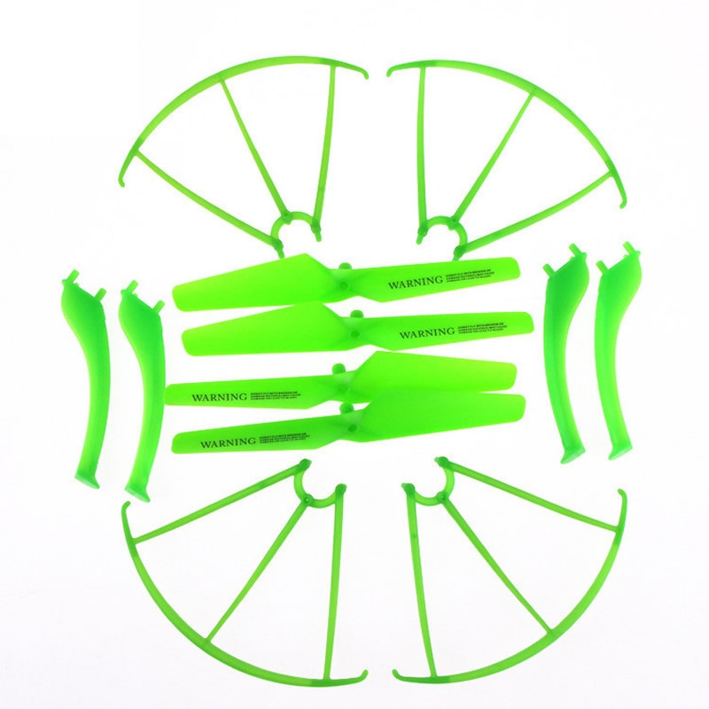 4PCS Propellers + 4PCS Landing Gear + 4PCS Protective Ring Green Spare Parts for Syma X5SC X5SW RC Quadcopter Drone