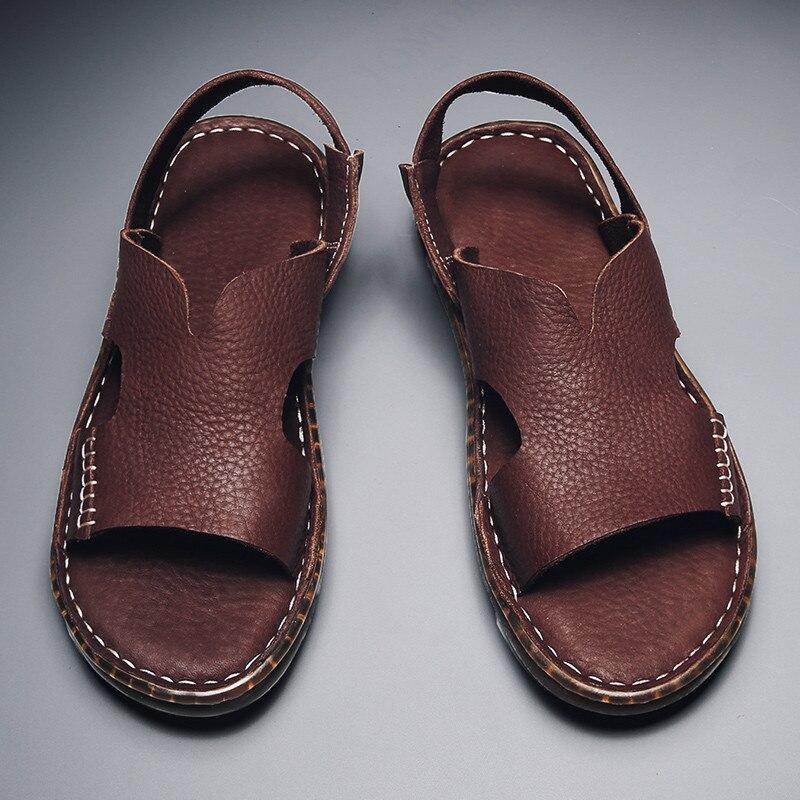 كبيرة الحجم جلد أصلي للرجال أحذية جديدة شبشب صيفي الصنادل الرجال في الهواء الطلق الشاطئ موضة الذكور حذاء كاجوال المشي الصنادل