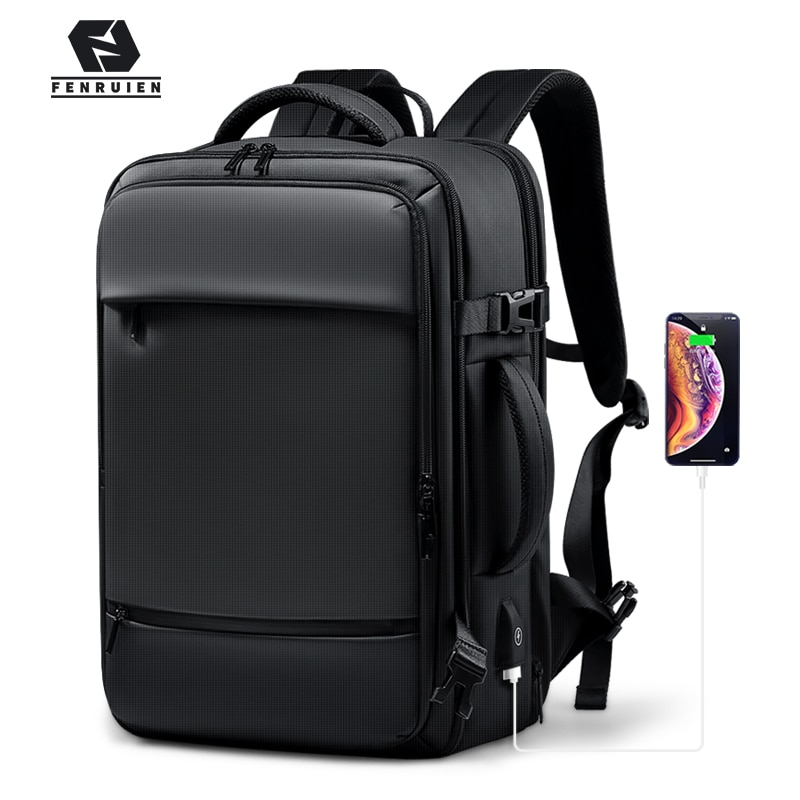 Fenruien 2020 Backpack Men 17.3 Inch Laptop Backpacks Expandable Large Capacity Travel Backpacking USB Charging Waterproof Bag