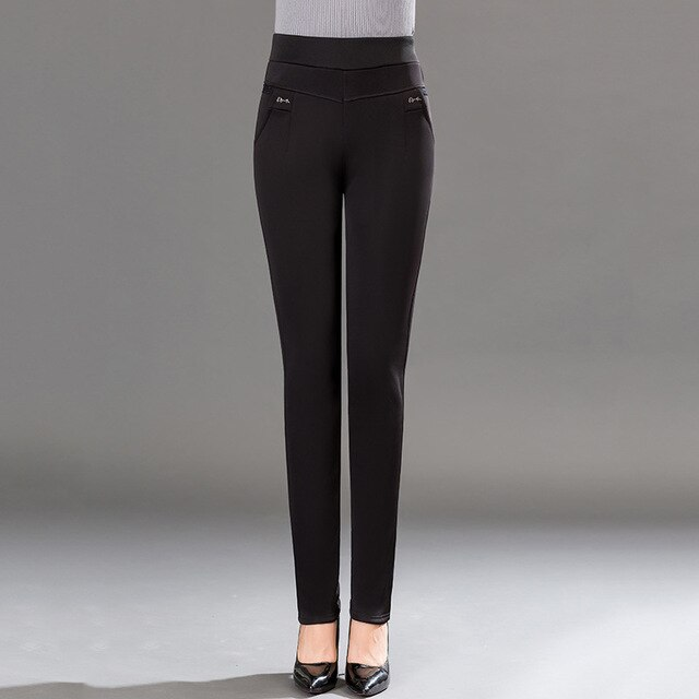 Verano Casual negro Harem pantalones mujeres talla grande de oficina lápiz pantalones elásticos de cintura alta Pantalones de mujer de talla grande 5Xl