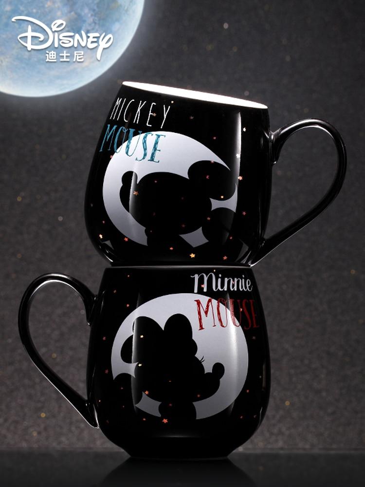 Original Disney Creative Water Cup Mickey Minnie Ceramic Mug with Lid Cartoon Milk Cup Fashion Couple Cup