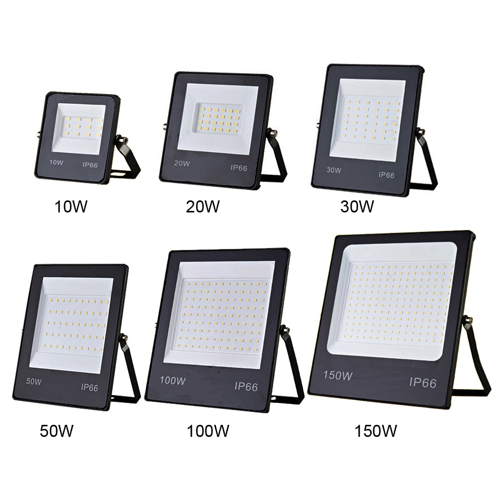220V LED Flood Light 10W 20W 30W 50W 100W 150W Ultra-thin Floodlight Wall Spotlights IP66 Waterproof Outdoor Lighting Flood Lamp недорого