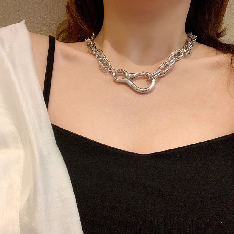 Metal Chain Necklace Ins Normcore Style Personality Popular Net Red Simplicity and Exaggeration Big