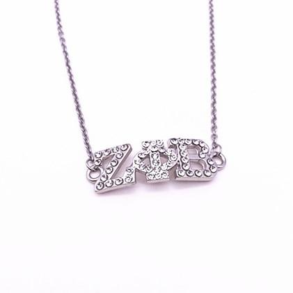 Greek Letter ZPB Sorority Fashion Necklace Jewelry Rhinestone Zeta Phi Beta Sorority Charm Pendant Necklace For Woman Gift