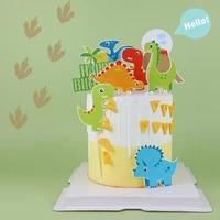 cake decoration happy volcano dinosaur submarine paradise marine animal world material package birthday cake decoration supplies