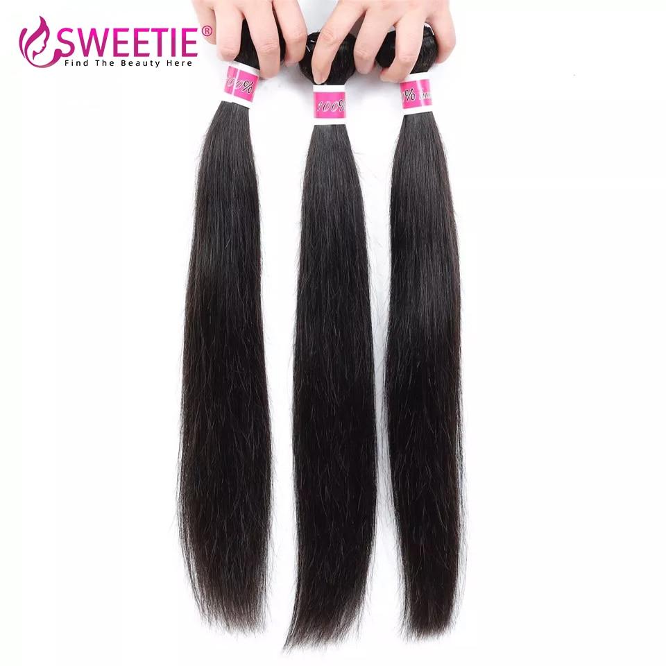 Милые волосы бразильские прямые волосы пучки 100% натуральные кудрявые пучки волос натуральный черный цвет можно купить 3/4 шт не Remy волосы
