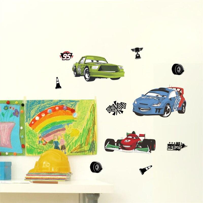Dessin animé voiture Stickers muraux pour enfants chambre course voiture garçon chambre décoration croissance graphique Mural Art Stickers garçon chambre décor