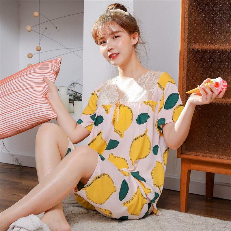 Summer Women Pajamas Sets Cotton Silk  Sleepwear Suit Pyjamas Short-Sleeved Loose Elastic Home Pijama Cute Comfortable Homewear