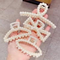 1 pcs 7 5 11cm new pearls acrylic hair claw clips spring summer hair barrettes for women hair styling tools accessories