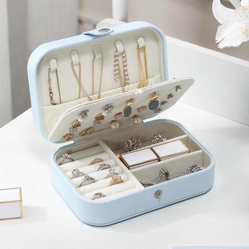 Casegrace Mini Travel Jewelry Organizer Box Storage Case Girl Portable PU Leather Earring Ring Necklace Jewellery Case Organizer