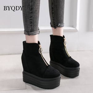 BYQDY New Fashion Woman Ankle Boots Front Zipper Height Increasing Winter Boots Woman Female Short Boots Lady High Heel Dropship