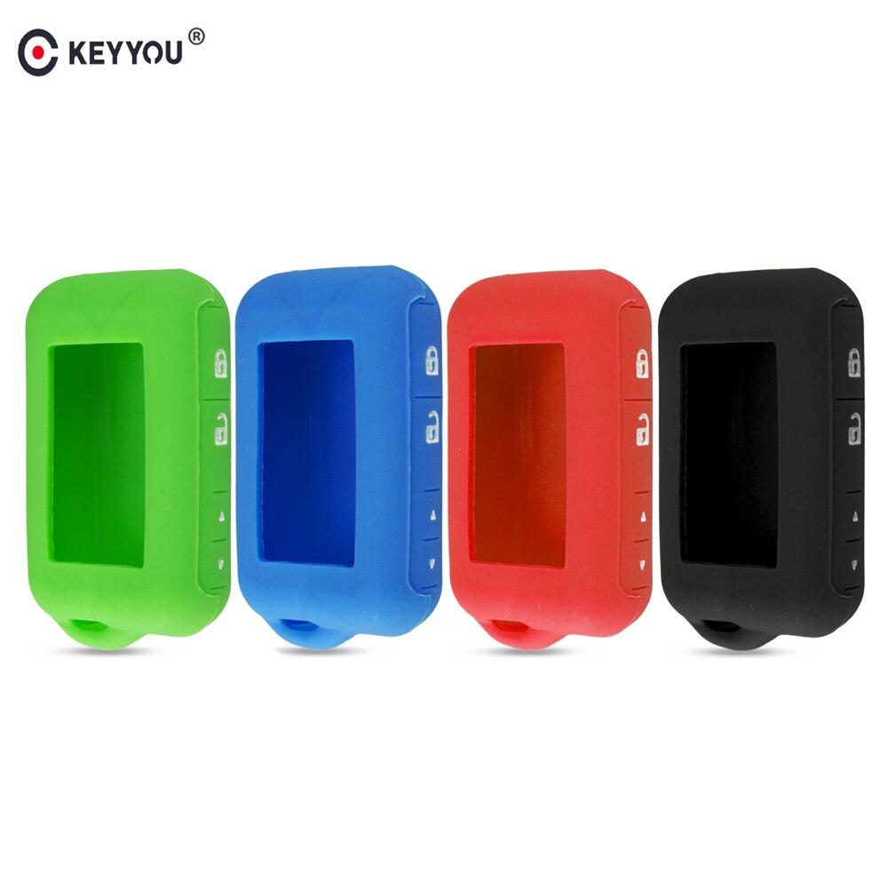 KEYYOU E90 E91 funda de silicona para Starline alarma de coche de 2 vías E63 E90 E91 E61 E95 E66 LCD llavero transmisor