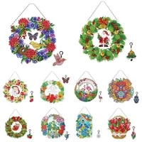 diamond painting wreath with led light diamond embroidery kit special shaped drill diy cross stitch christmas home wall decor