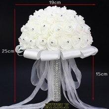 Fait à la main Rose mariage Bouquet de mariée belle fleur artificielle mousse Roses mariée fleur mariage fête accessoire mariage Bouquet