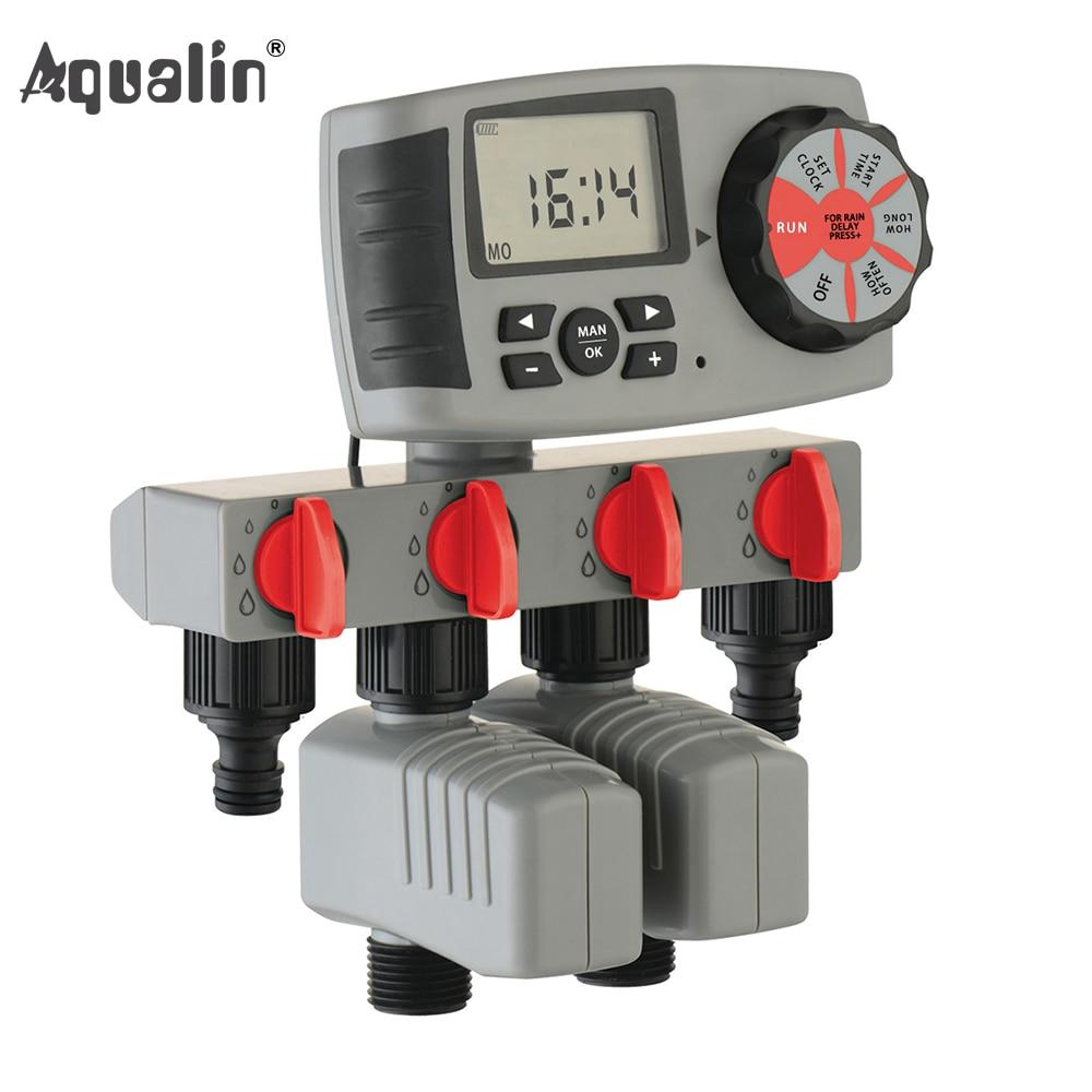 Aqualin Automatische 4-Zone Bewässerung System Bewässerung Timer Garten Wasser Timer Controller System mit 2 Magnetventil #10204