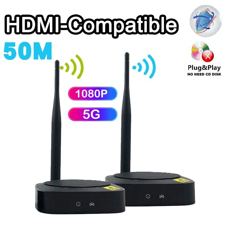5.8GHz لاسلكي HDMI متوافق موسع 50M جهاز ريسيفر استقبال وإرسال كامل HD 1080P 5G الصوت والفيديو المرسلين TX RX التوصيل والتشغيل إلى التلفزيون
