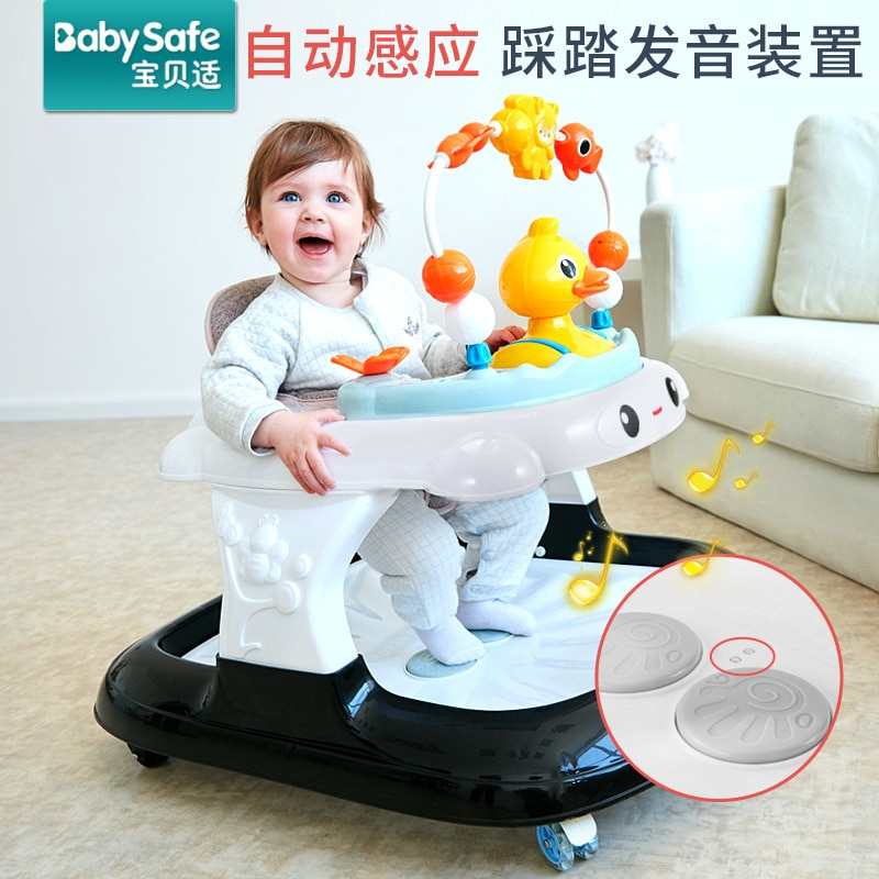 wholesale baby walker with 8 wheels anti runover multi function skating car with music toys learning walkers walking assistant Babysafe Multifunctional Baby Walker With Wheel Baby Walk Learning Anti Rollover Foldable Wheel Walkers Baby Seat Car