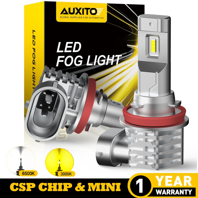 AUXITO 2Pcs 4000LM CANBUS H8 LED Fog Lights H10 H11 H16JP LED Bulb DRL Lamp for Audi Toyota Hyundai Kia Lexus Nissan 3000K 6500K