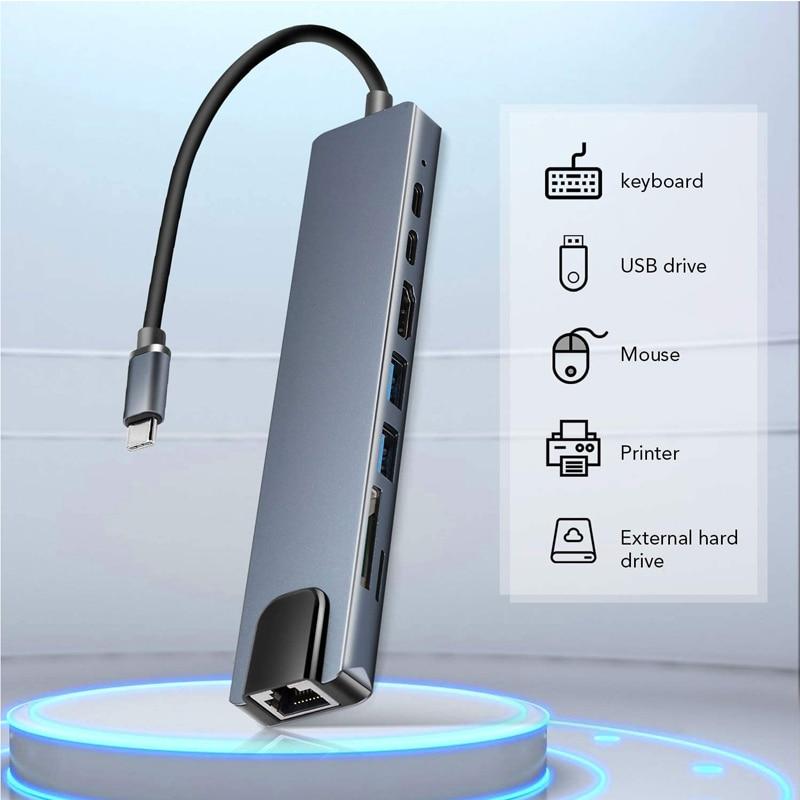 USB3.0 نوع C هاب محول 8 في 1 متعدد ميناء نوع C حوض ل ماك بوك برو مع 4K 30Hz USBC SD TF مايكرو SD قارئ بطاقة هاب الخائن