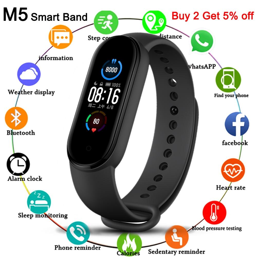 New M5 Smart Bracelet Men Fitness Smart Wristband Women Sports Tracker Smartwatch Play Music Bracele