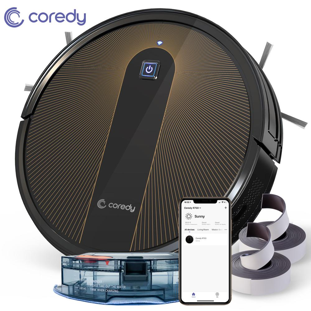 Coredy R750 2200PA Robot Vacuum Cleaner Smart Sweep Dry Wet Mopping Floor Carpet Auto Charge Pet Home with Alexa Google Wifi APP