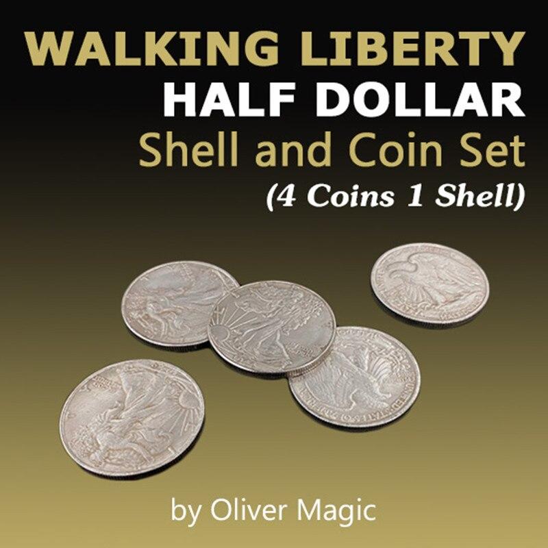 Walking Liberty Half Dollar Shell and Coin Set (4 Coins 1 Shell) Oliver Magic Close Up Magic Tricks Illusions Gimmick Coin Magia