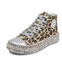 2021 woman spring leopard print canvas fashion sneakers rhinestone sequin flat wild shoes youth casual shoes zapatillas mujer