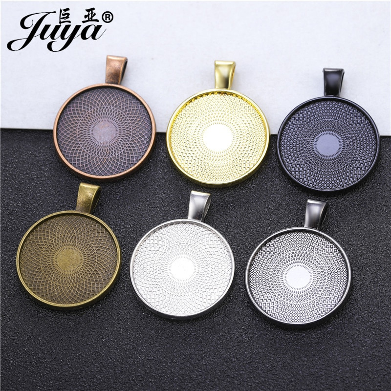 10PCS Double Sided Pendant Cabochon Base 25mm Blank Settings Tray Charms For DIY Jewelry Making Neck