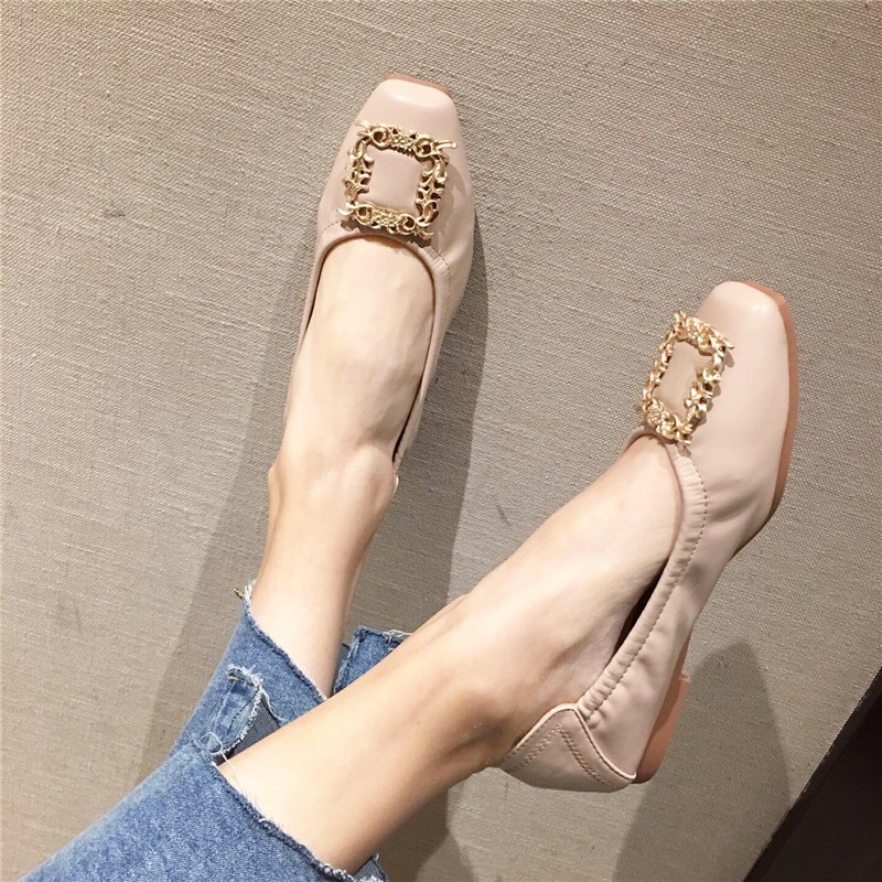New Arrival  Spring Summer Women Rhinestone Ballet Flats Shoes Square Toe Ladies Casual Low Heel Flat Woman