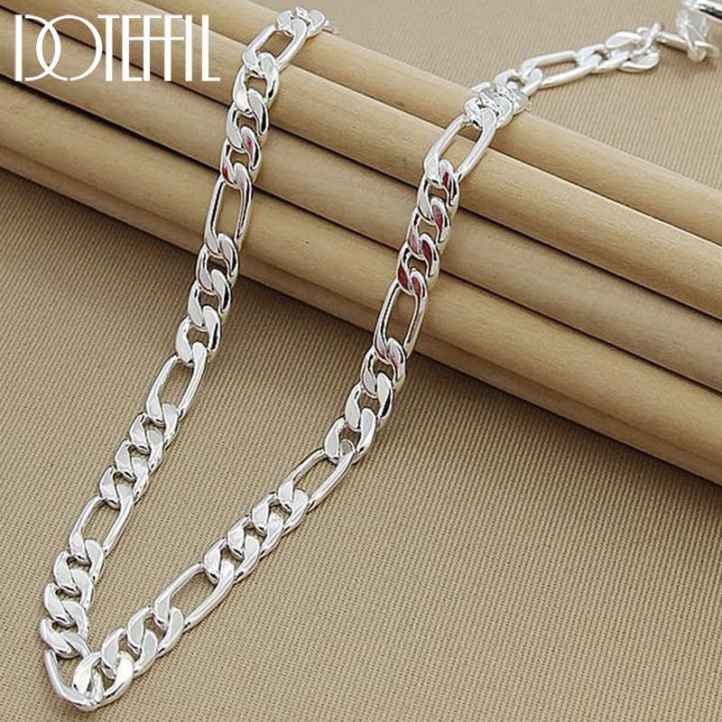 AliExpress - DOTEFFIL 925 Sterling Silver 8mm Chain Sideways Necklace Man Woman Senior Luxury Jewelry Statement Necklace
