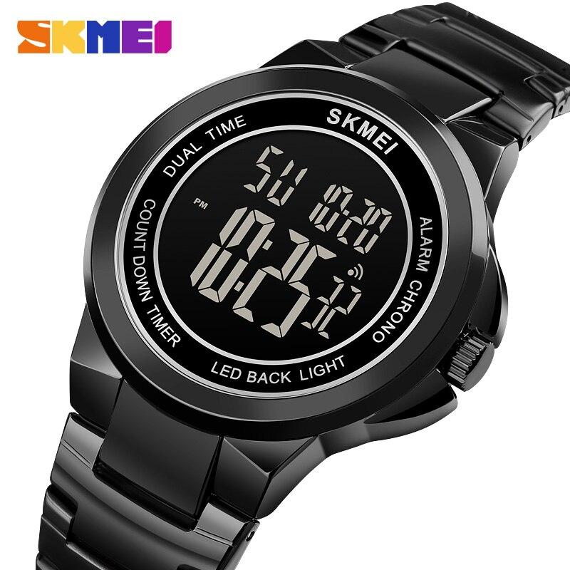 SKMEI Mens Digital Wristwatches 2 Time Stopwatch Men Sport Watch Fashion LED Watches Waterproof Hour relogio masculino 1712