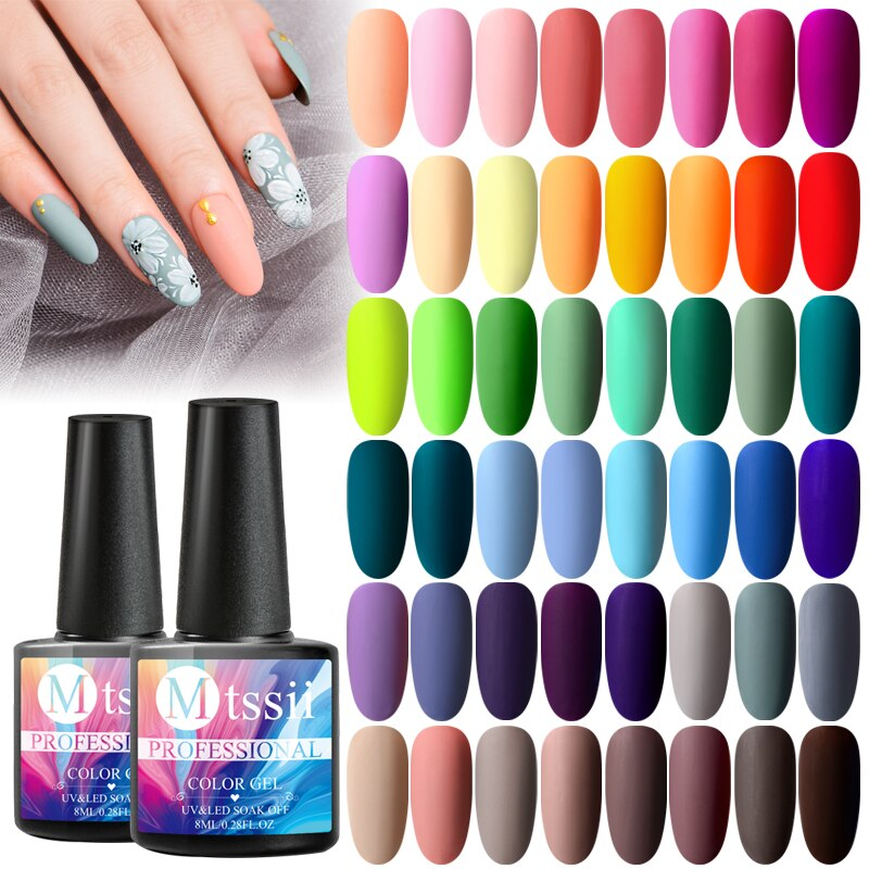Mtssii Matte UV Gel Nail Polish Semi Permanent Soak Off Nail Art Gel Varnish Lacquer Matte Top Coat Needed