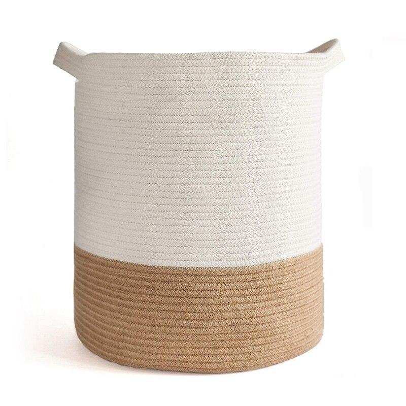 سلة حبل القطن ، سلة تخزين منسوجة وسلة بطانية ، 41X45cm سلة ديكور للزينة لعبة ، سلة الغسيل مع مقبض