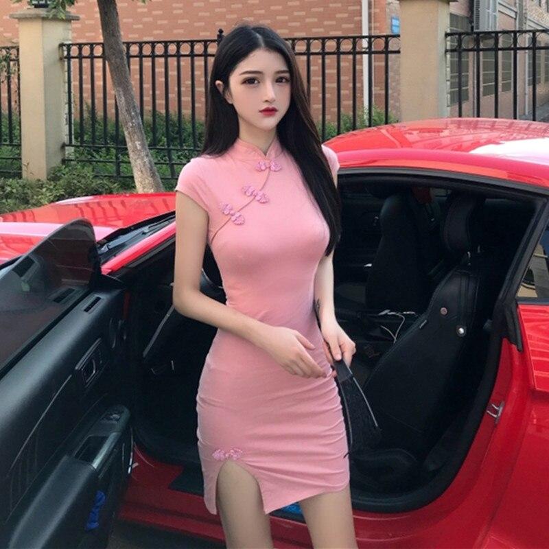 Real shot elegant sexy party dress 2019 new fashion short-sleeved slim retro women's dress improved cheongsam waist split dress
