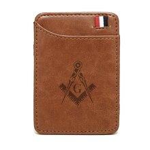 Classique haute qualité maçonnique Logo en cuir magique portefeuilles mode hommes argent clips carte sac à main portefeuille