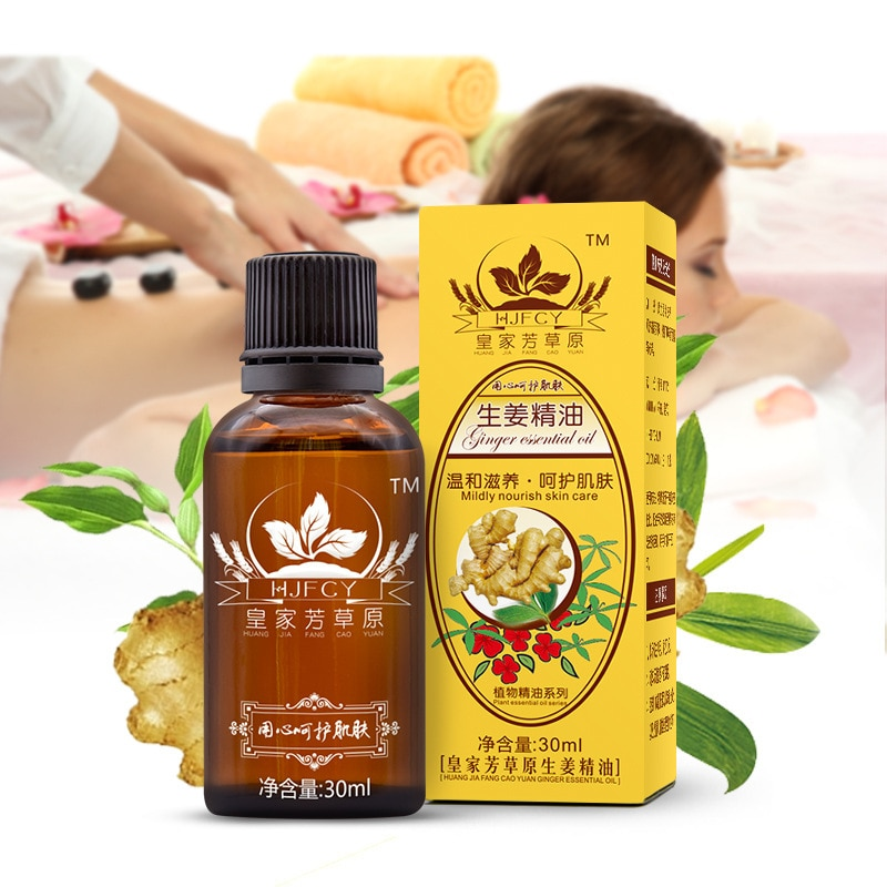 30ml Natural Plant Therapy Lymphatic Drainage Ginger Oil Natural Anti Aging Essential Oil Body Massage SPA ginger essential oil origins ginger gloss smoothing body oil