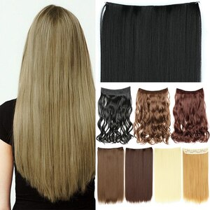 Kong&Li 22 Long Straight 5 Clips In One Piece Hair Extension Synthetic Clips In High Temperature Fiber Black Brown Hairpiece