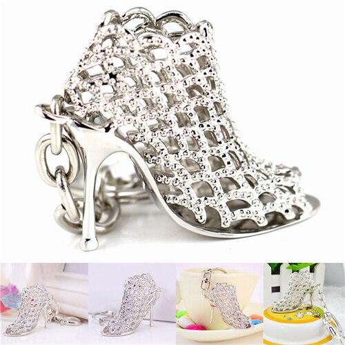 Llaveros Chic de tacón alto con diamantes de imitación y cristal, llavero con dije en forma de zapato para mujer, llavero para bolso de mano con colgante para chica