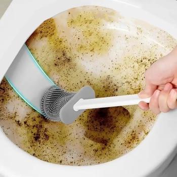 Toilet Brush Silicone Toilet Brush With Toilet Brush Holder Creative Cleaning Brush Set Toilet Brush Water Leak Proof With Base