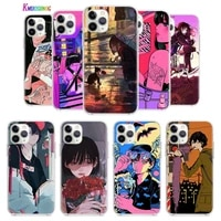 anime neon color art girl for apple iphone 12 mini 11 xs pro max xr x 8 7 6s 6 plus 5 5s se 2020 tpu silicone phone case