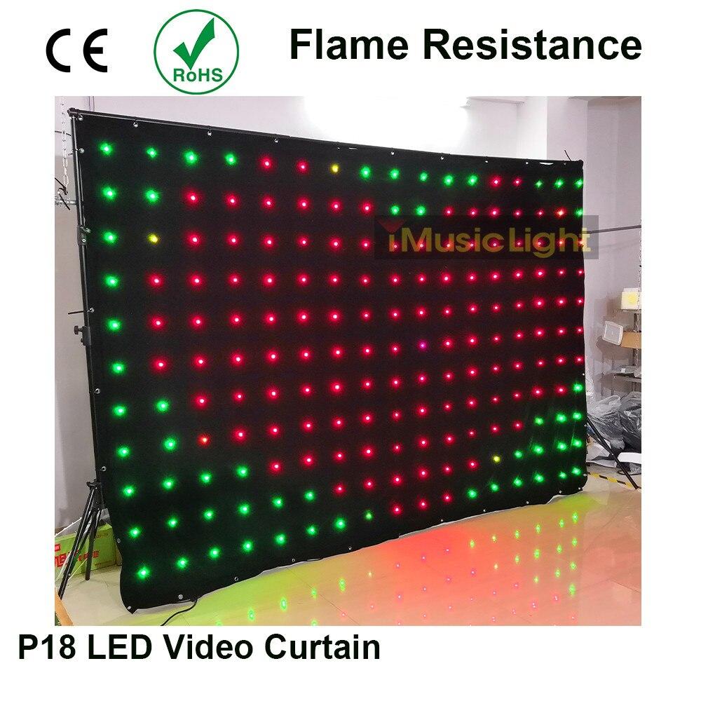 2m x 3m LED vídeo cortina estrella paño P18 Matrix DMX telón de fondo boda escenario DJ Pub fondo