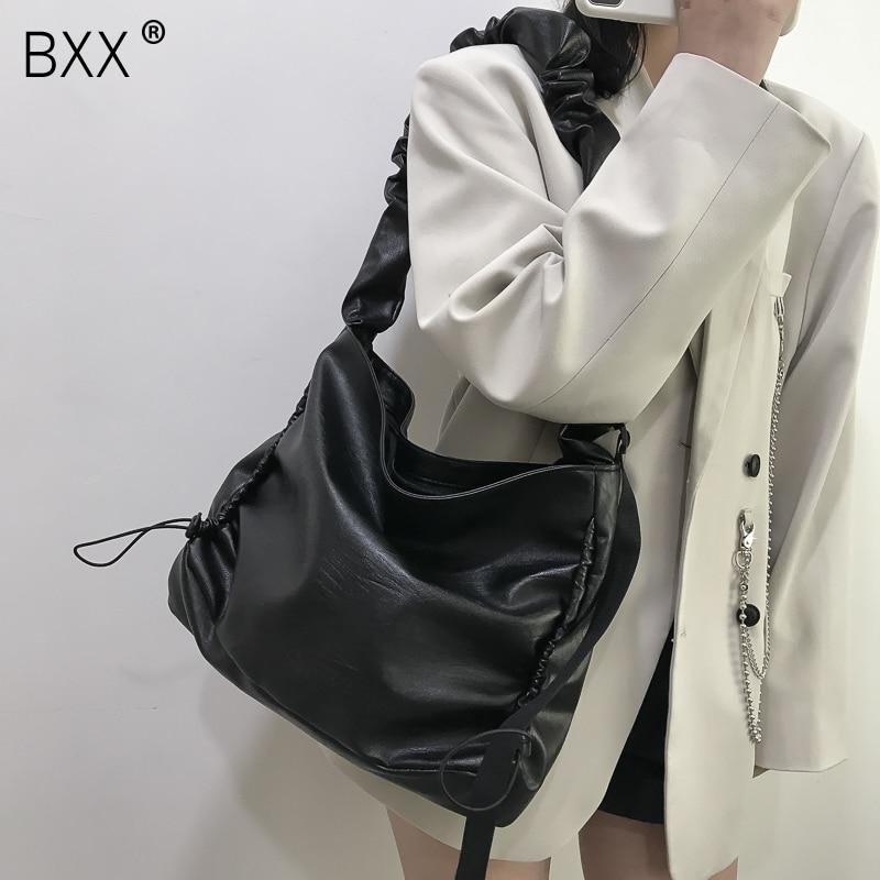[BXX] PU Leather Crossbody Bag 2021 Winter High Quality Handbag and Purse Vintage Pleated Trending Shoulder Cross Body Bag HP930