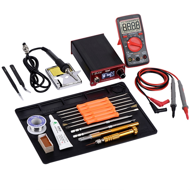JCD T12 Fast Heating Soldering Iron Kits Soldering Station LCD Digital Display Adjustable Temperature Welding Solder Station adjustable temperature welding station quick ts1100 90w electric soldering iron lcd digital display lead free station