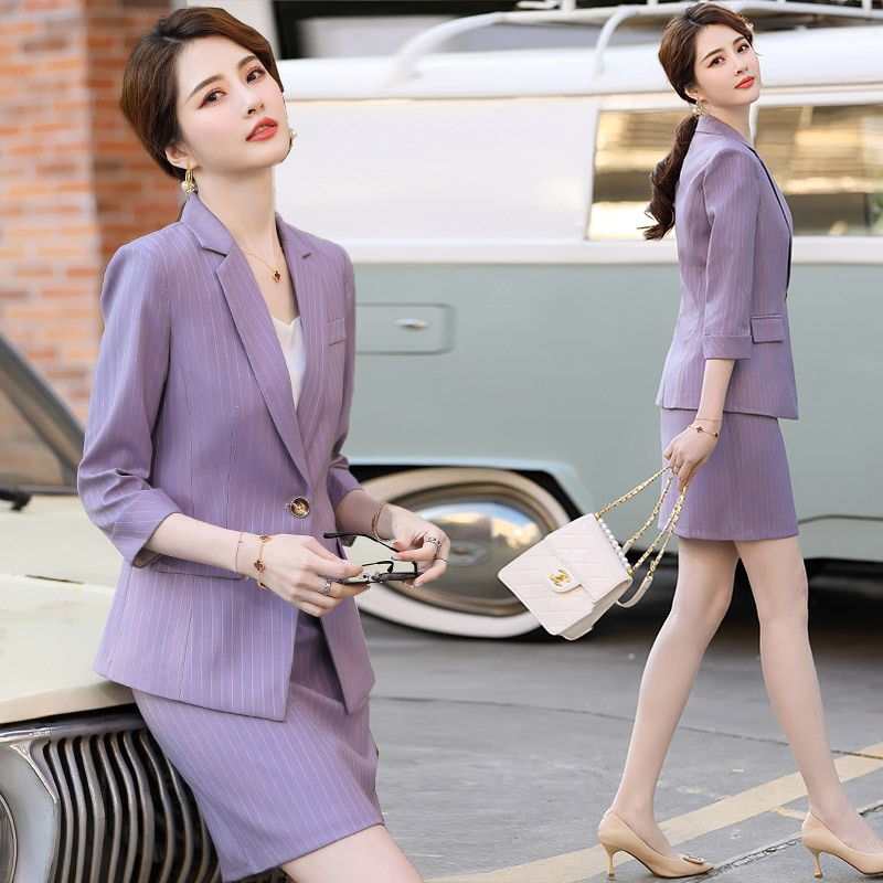 High-End Professional Small Suit Skirt for Women Spring/Summer 2021 New Fashionable Stylish Purple S