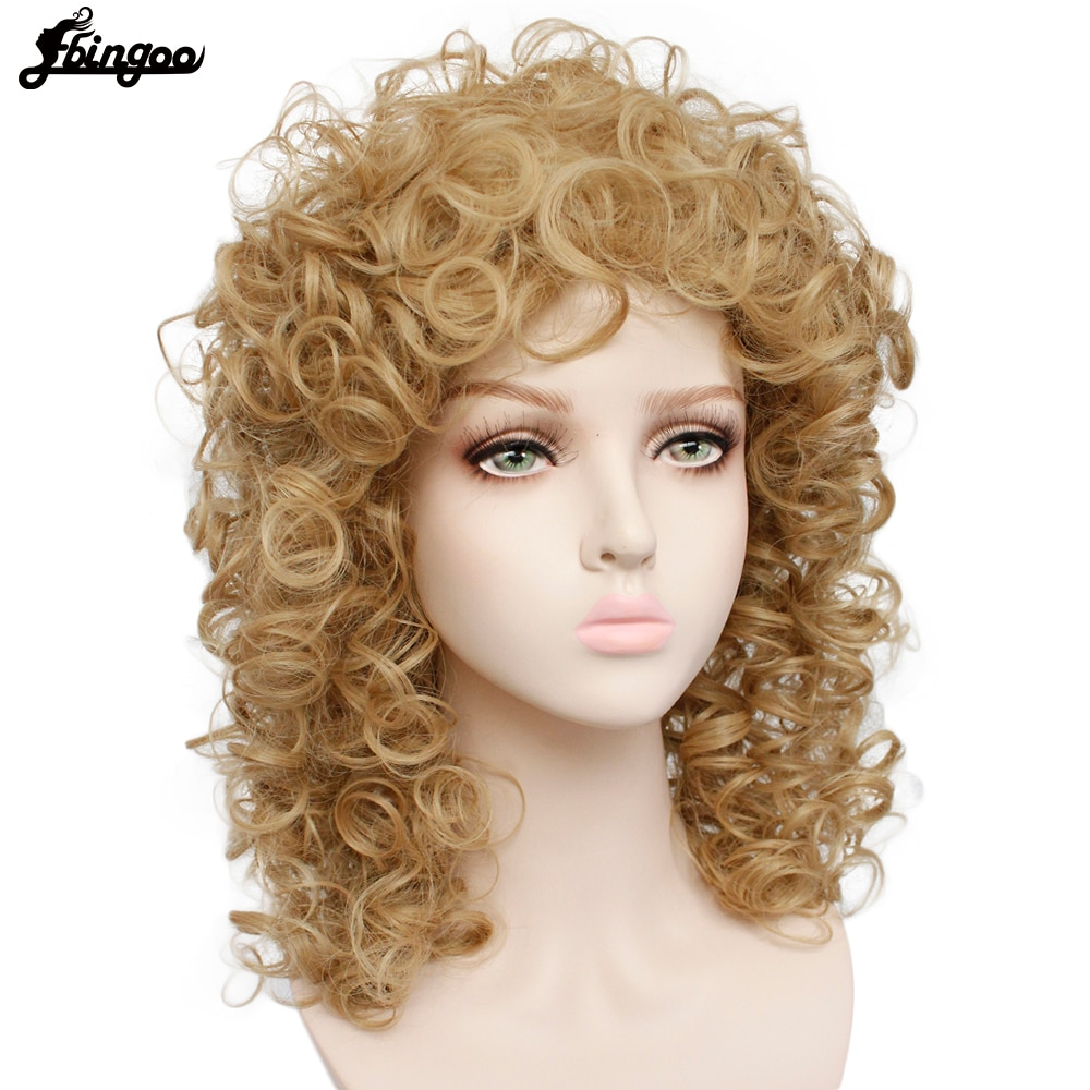Ebingoo 70s 80s Disco Hallween Rocker Wig Short Curly Golden Blonde Synthetic Wig for Female Mullet Role Play Party