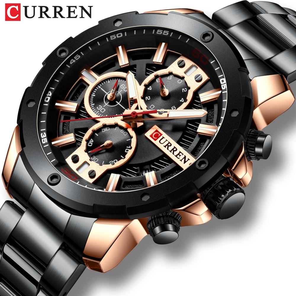 Curren Men Watch Top Brand Luxury Business Black Men's Quartz Waterproof Wrist Watches Chronograph Man Watch  Relogio Masculino curren watch relojes hombres de la marca de lujo curren reloj inteligente montre relojes curren men watch